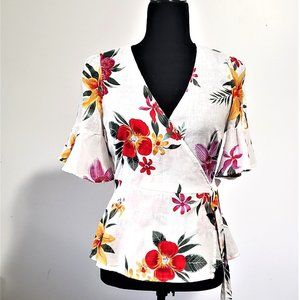 Old Navy Floral Linen Wrap Top Size XS